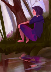 Daydreaming girl by la-Structure-du-Ciel