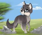 Dark Wolf Puppy Anime Style