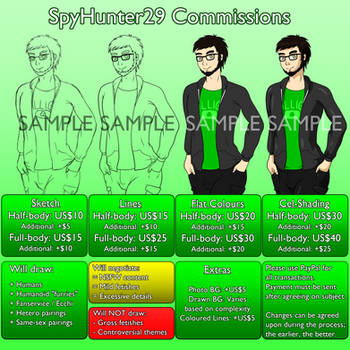 SpyHunter29 Commission Price Chart by SpyHunter29