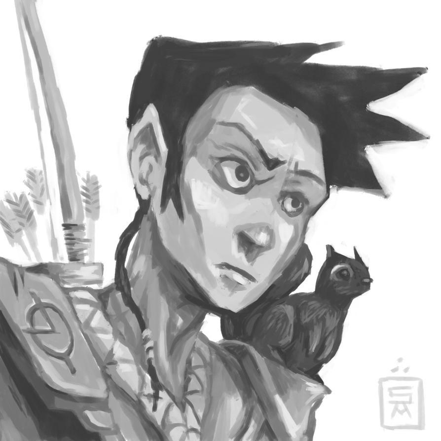 Half-Elf Ranger by shamsnelson