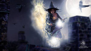 The witch and her flying broom