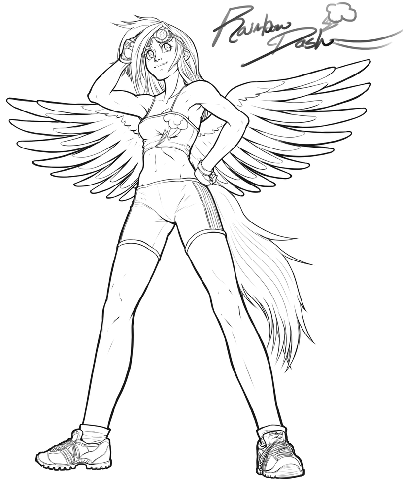 Human Rainbow Dash Coloring Pages