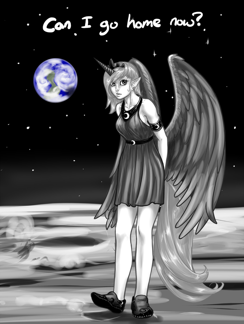 Luna on the moon by AphexAngel