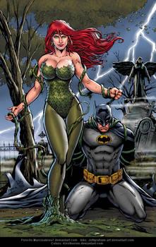 Poison Ivy and Batman By Marcio  Abreu Blue ver.