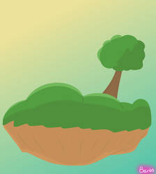 Floating land with a tree (digital art)