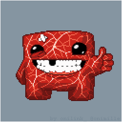 Super Meat Boy with meat texture by oni1ink