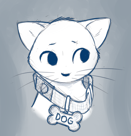 Doodle of a cat wearing a dog collar labeled as a dog