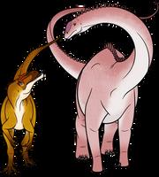 PaleoArt Commission: Allosaurus and Diplodocus