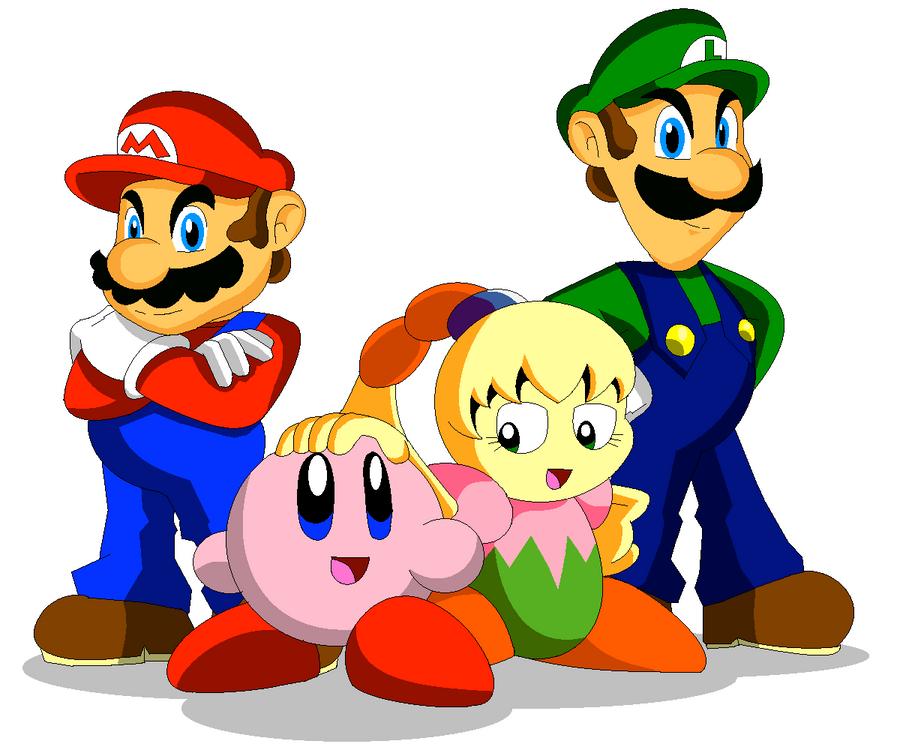 Mario, Luigi, Kirby, and Tiff by Koopa-Master