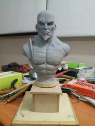 Kratos Bust in process :D by sanyaca