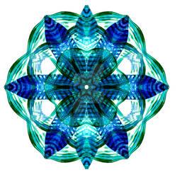 Autumn Leaf Mandala Blue
