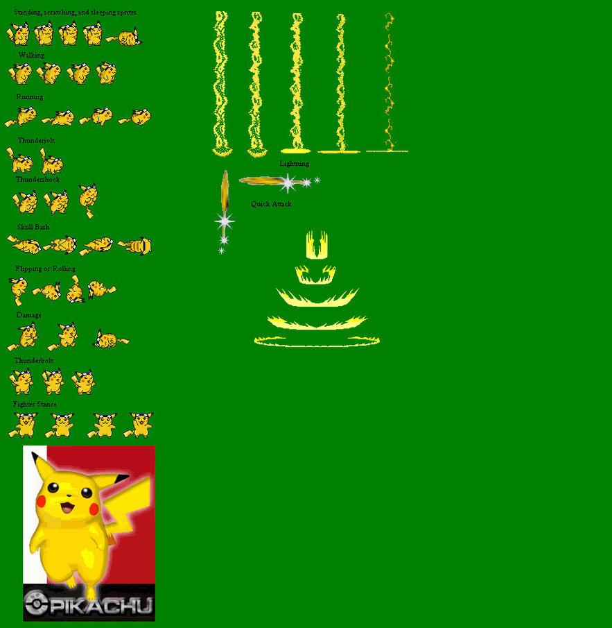 Pikachu Sprite Sheet by BLACK-SHADOW-22 on DeviantArt