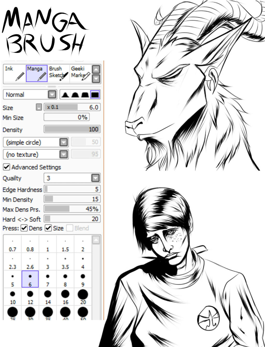 Manga Brush by RedDragon-Girl