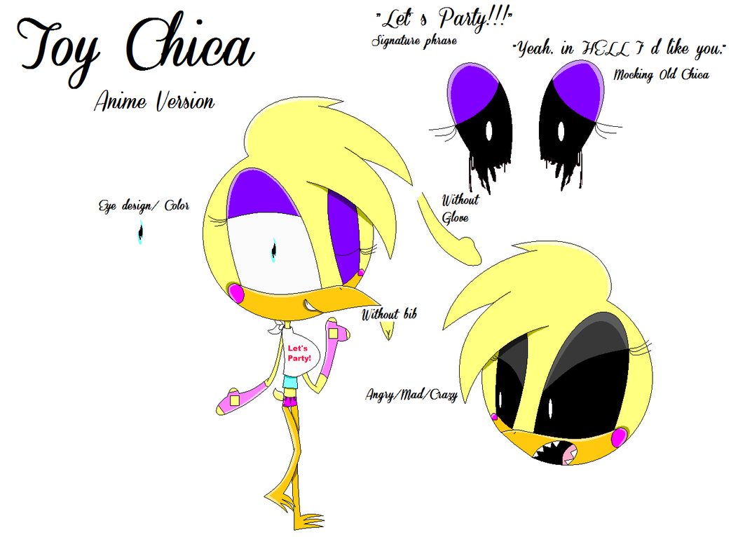 fnaf anime toy chica refsheet by toychicacutiepie10 on