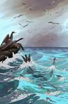 Cormorants and flying fish