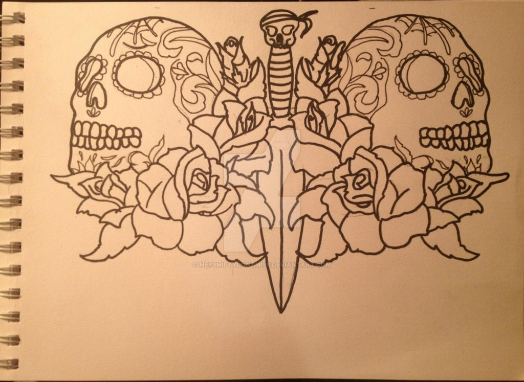 sugar skull roses and a dagger tattoo design by heyshiftydontmiss