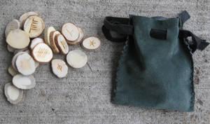 Antler ogam set + leather bag by lupagreenwolf