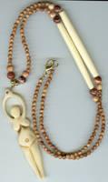 Bone spiral goddess necklace by lupagreenwolf