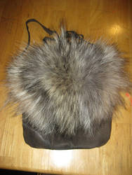 Custom wolf fur + leather bag by lupagreenwolf
