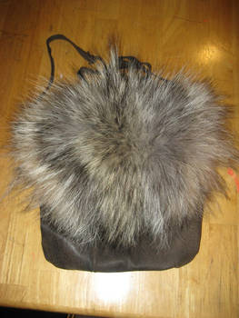 Custom wolf fur + leather bag