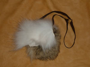 Custom two-wolf fur pouch