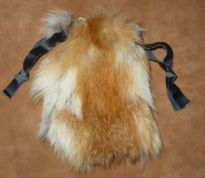 Custom red fox fur pouch
