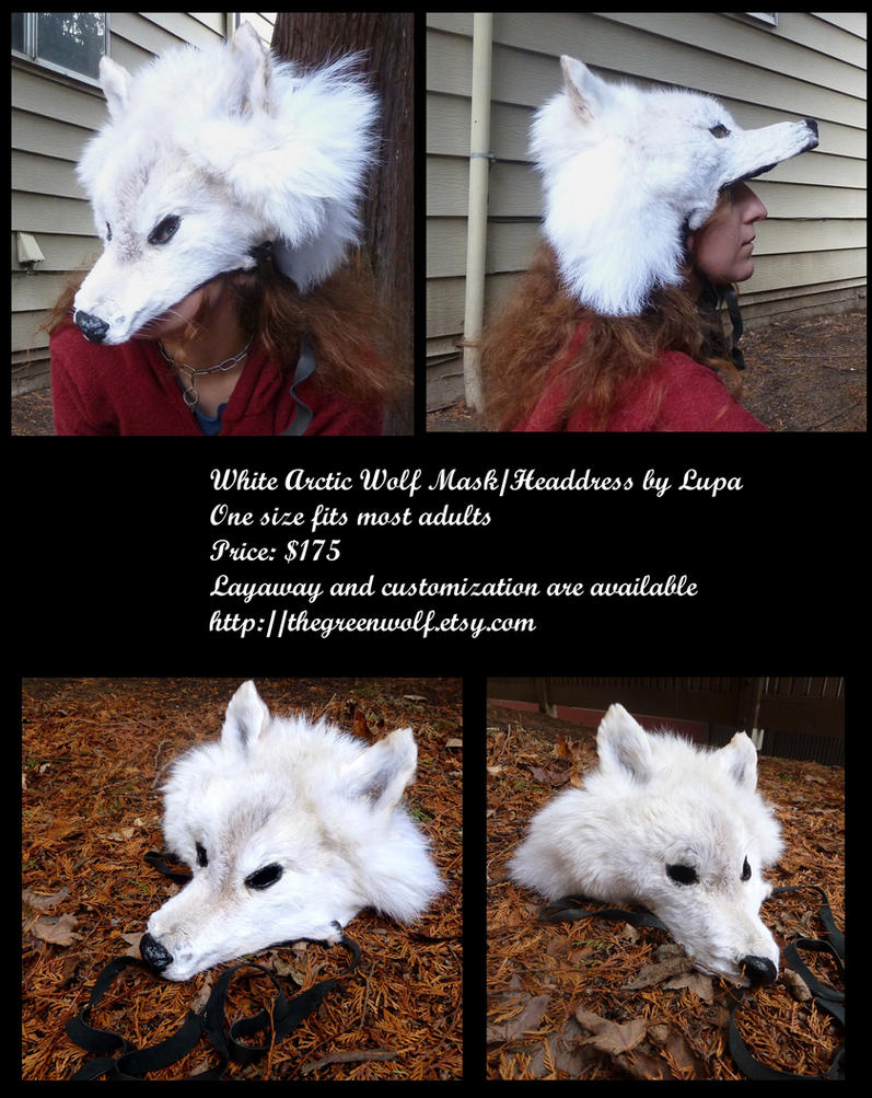 Real Fur White Arctic Wolf Mask or Headdress by lupagreenwolf
