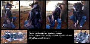Custom black wolf totem headdress