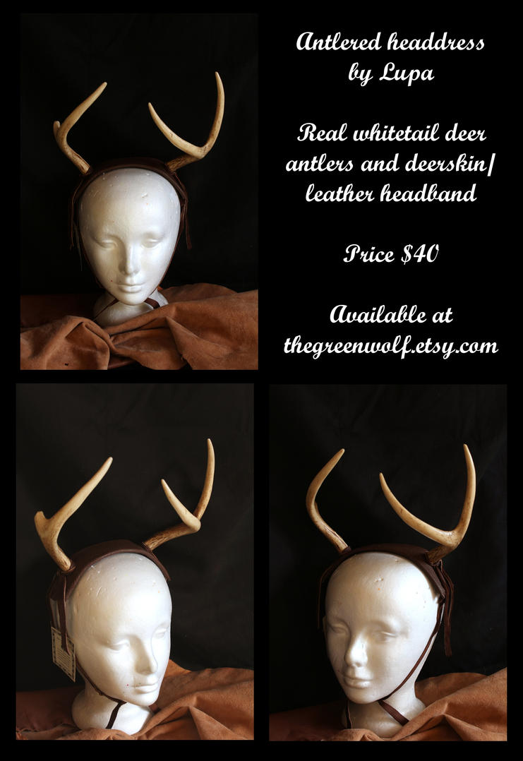 Brown antlered headdress by lupagreenwolf