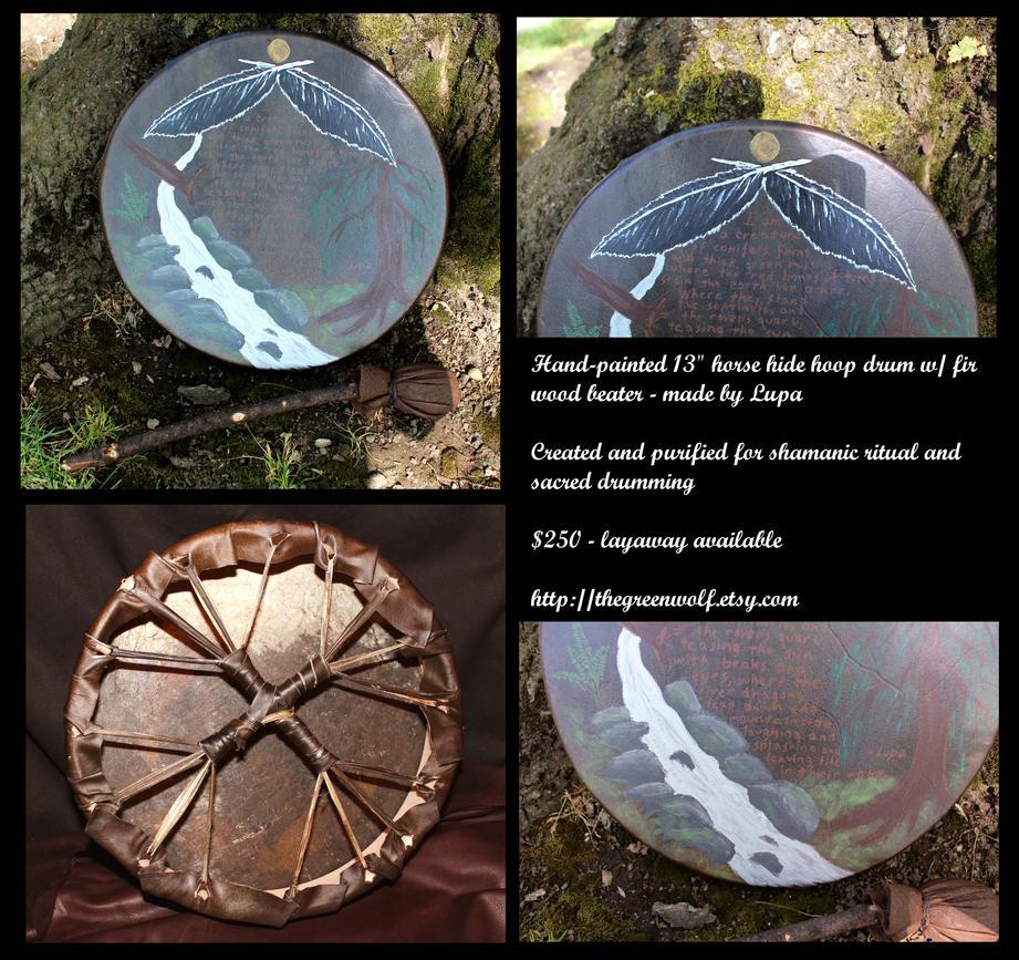 Nature Poem-painted Horsehide Drum by lupagreenwolf