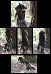 The HUGE black wolf totem headdress--finished!