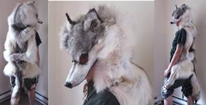 Custom gray wolf headdress