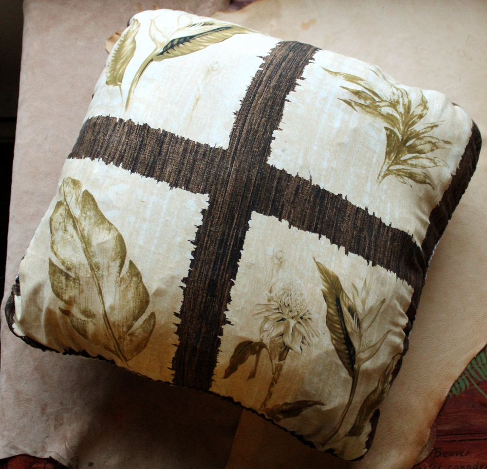Leafy Scrap-Filled Throw Pillow by lupagreenwolf