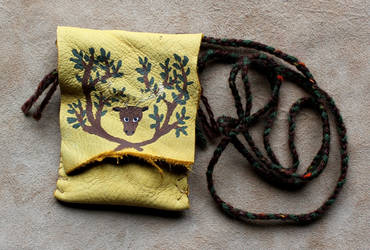 Stag and Tree Necklace Pouch by lupagreenwolf