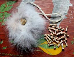 Wolf Bone Rune Set with Wolf Fur Bag by lupagreenwolf