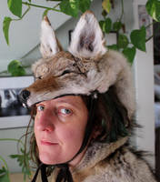 Coyote Headdress with Paws by lupagreenwolf