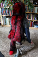 Red and Black Dyed Fox Headdress by lupagreenwolf