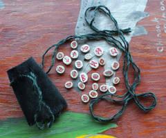 TEENY TINY Caribou antler rune set by lupagreenwolf