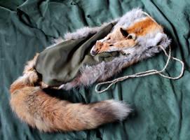 Red Fox and Deerskin Shoulder Bag by lupagreenwolf
