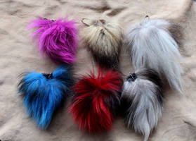 Fox Tail Keychains by lupagreenwolf