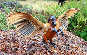 Rooster - Custom Breyer Fighting Stallion Pegasus by lupagreenwolf