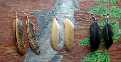 Free-Range Chicken Feather Earrings by lupagreenwolf