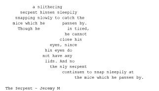 The Serpent - Concrete Poem by Jerm123321 on DeviantArt