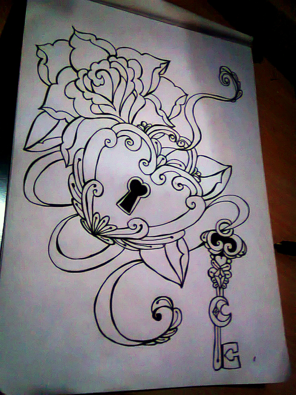 Rose heart lock key old school tatooo by pompelina on for Rose heart tattoo