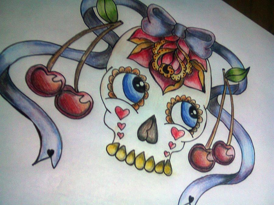 Cute Skulls And Roses Wallpaper Cute Sugar Skull Cherry Rose