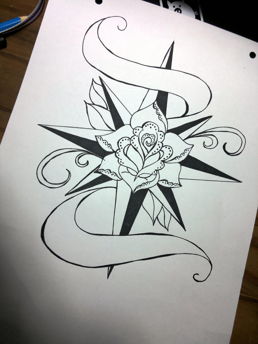 Rose Compass Old School Tattoo