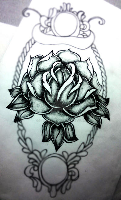 Old School Black And Grey Rose Tattoo By Pompelina On Deviantart