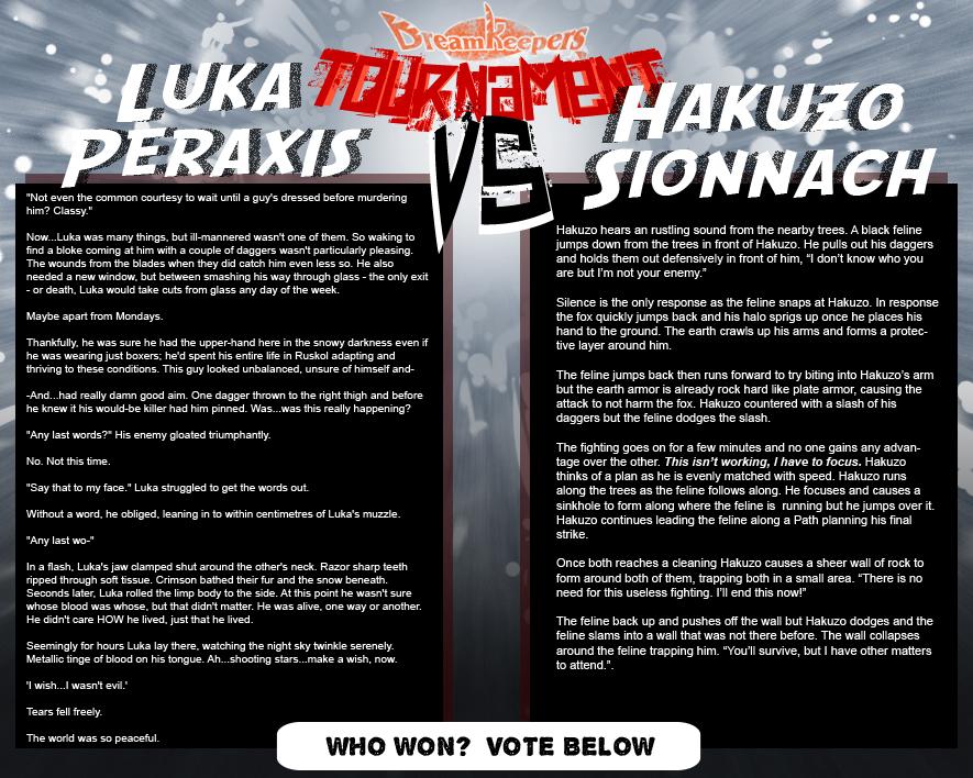 Tournament Match 5: Luka vs Hakuzo by Dreamkeepers