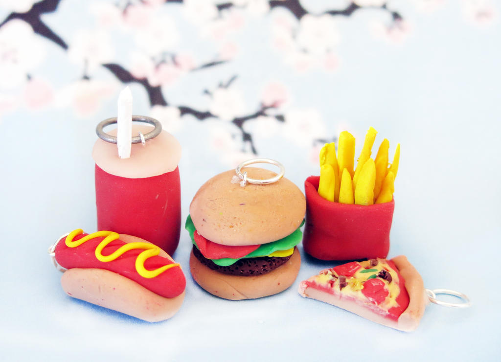 Fast Food Clay Charms