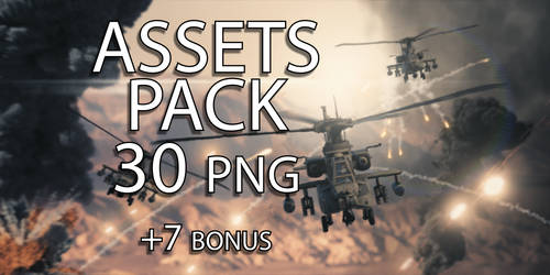 PNG Assets Pack - Apache Helicopter - 37 Poses by FabioMk